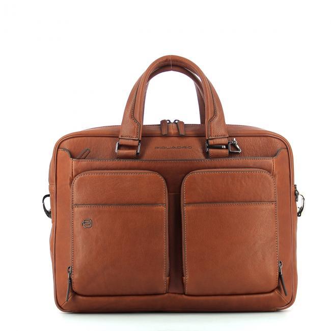 Slim Leather Briefcase Black Square 15.0-CUOIO-UN 46087af8cde