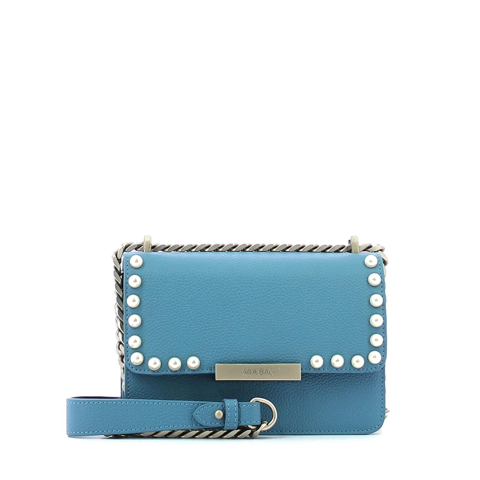 Leather pochette Kate with pearls-AZZURRO-UN