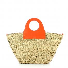 Straw basket handbag Ariel - ORANGE