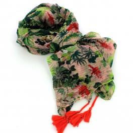 NC Scarf Print Flowers-ROSE/MULTI-UN