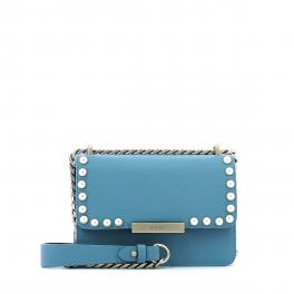 Leather pochette Kate with pearls-AZZURRO-UN
