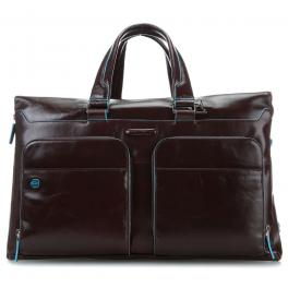 Leather weekender Blue Square with PC holder