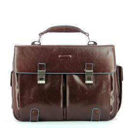 Leather Briefcase Blue Square 15.6-MOGANO-UN