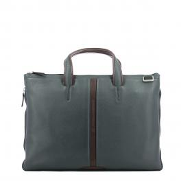 Expandable slim briefcase-BLU/MARRONE-UN