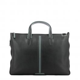 Expandable slim briefcase-NERO/GRIGIO-UN