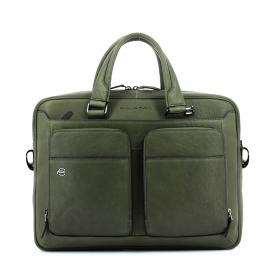 Slim Leather Briefcase Black Square 15.0-VERDE-UN