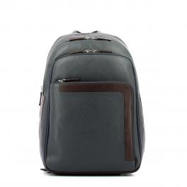 Laptop Backpack in Leather 14.0-BLU/MARRONE-UN